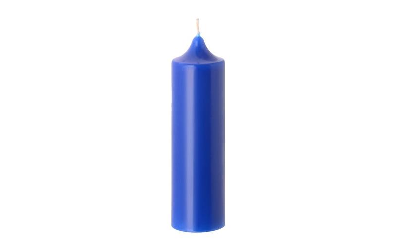 Свеча-колонна 15 см синяя